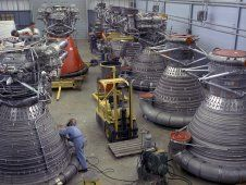F-1 engines being stored in the F-1<br /> Engine Preparation Shop<br /> (NASA/MSFC)