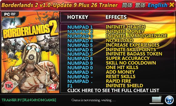 BORDERLANDS 2 1.0-UPDATE 1-9 +26 TRAINER [FLING]